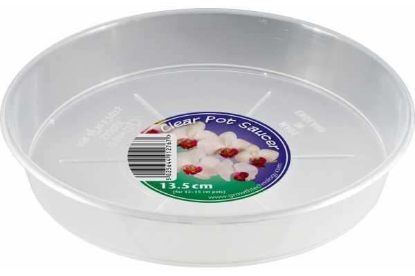 Platillo transparente para macetas de orquídeas